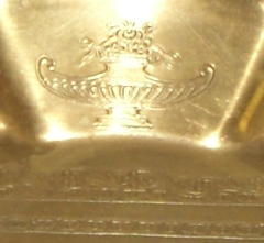 Brass serving dish closeup